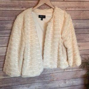 RN studio white cream faux fur shrug mini sweater
